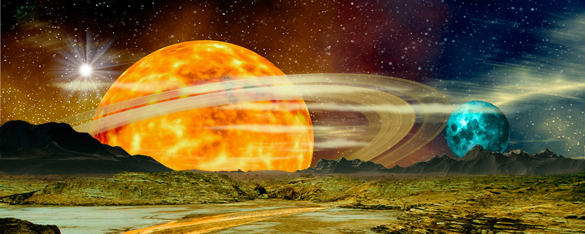 Stock photo surreal outerspace landscape with saturn and for Outer space landscape