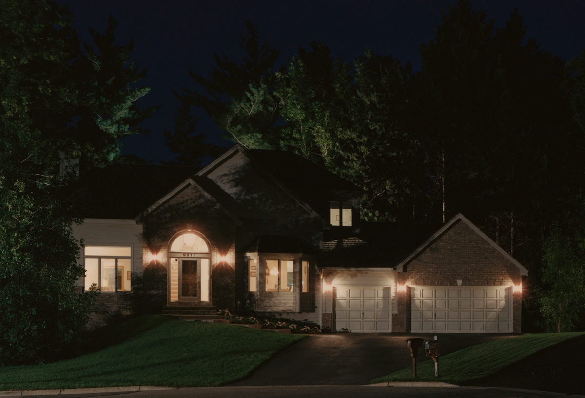 Stock Photo - Architecture residential night view of a two