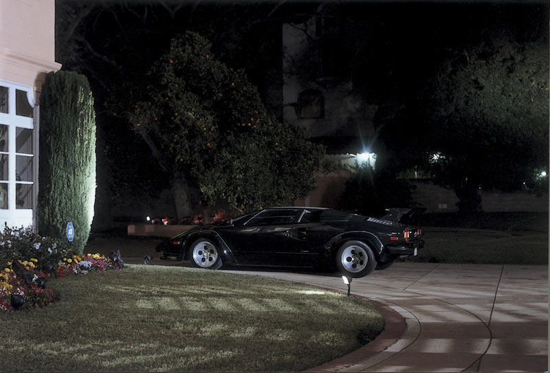 Stock Photo Lamborghini Parked In A Residential Driveway At Night