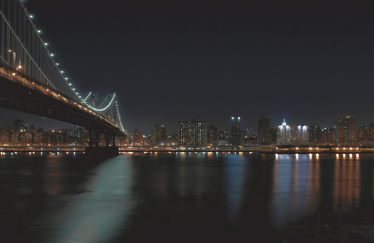 Stock Photo Night Time View Of Brooklyn Bridge Over Water With Light